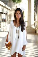 womens black dress shirt - Esnaview New Leisure Style Womens Chiffon Blouse Shirts Dresses V Neck Long Sleeve Outwear For Summer S M L XL White Black Sapphire