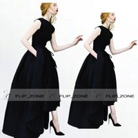 Wholesale 2015 Vintage Black Prom Dresses with High Neck Short Sleeve Stain Belt Long Hi Lo High Low Evening Celebrity Formal Gowns Shail Kusa Simple