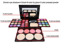 Wholesale NEW Free combination makeup sets color eye shadows blush color lip gloss color pressed powder G minerals makeup kit