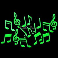 Cheap Music Notes Glow in the Dark Fluorescent Plastic Home Decorate Wall Sticker BHU2