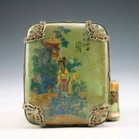 belle box - Christmas gift Oriental Vintage Handwork tibet Silver Porcelain Dragon Belle home decor Jewel Box