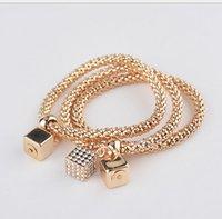 crystal jewelry box - 2015 Alloy Bracelets Fashion Geometry Box Bangles Women Jewelry Girl Charm Bracelets Lady Hand Accessories A11433