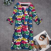 Cheap Vestido De Festa Sheath Dresses Women's New And 14 Major Suit Tailored Seven Point Sleeve Fish Dress Colorful Printing Dyeing