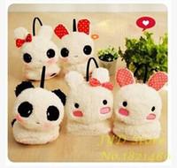 Wholesale Lovely Dots Rabbit Ear Panda Design Earmuff Women Girls Winter Thermal Ear warmer Earmuffs Keep Warm Probe Covers