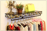 Clothes shelf. The clothes hanger display. High-grade leather hanging