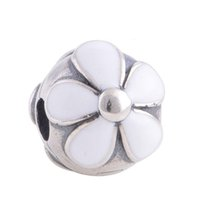 enamel charms - S925 Sterling Silver White Enamel Clip Charm Flower Bead Fits European Style Charm Bracelets Necklaces KT074B N