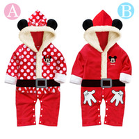 Wholesale Cartoon Mickey Minnie Cotton Christmas One Piece Baby Romper Suit Christmas Clothes New Year Romper Kids Clothing Have Hat