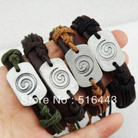 Wholesale Hot Sale Charms Fashion Jewelry Stainless steel Leather Carving Cyclone Bracelets Bangles for Mens Womens A