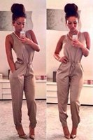 Wholesale 2015 New Nightclubs fashion Casual sleeveles long pants women Jumpsuits Rompers khaki