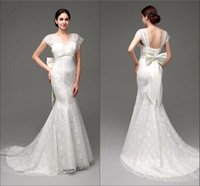 Cheap In Stock 2015 Elegant Mermaid Wedding Dresses Cheap V Neck Capped Beaded Belt Sweep Train Lace Bridal Gowns Real Pictures CPS178