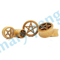 Wholesale 2015 with Star Design Wood Ear Gauge Plugs Classic Ear Stretcher Tunnels Expander mm mm
