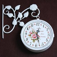 Wholesale Mute wrought iron european style garden double sided wall clocks contracted clocks wall clock modern design