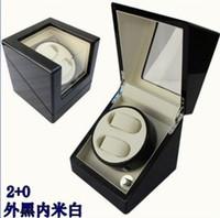 automatic watches winder - watch auto winder Black wooden case cream velvet interior lock automatic watch winder