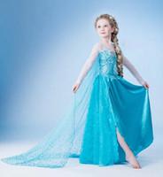 Cheap 2015 Frozen clothes Romance elsa princess dress Elsa & Anna Movie Cosplay Costume kids girls Blue Dress party dresses