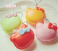 kawaii - Squishies new squishy mixed Colors macaroon kawaii Squishy hello kitty squishy Cell Phone Straps key chain