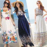 long casual dresses - summer dress Women dress Beach party Chiffon long dresses vestidos plus size women Casual maxi dress summer style clothing CQ01