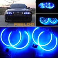 angels eyes headlights - Super bright Blue CCFL LED Angel Eyes headlights for BMW E46 NON projector angel eyes kits