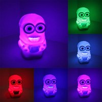 Wholesale New Color Changing Colorful Bedside Night Lamp Light luminaria Toy Despicable Me Minions toys Figures
