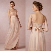 Wholesale Blush Pink Lace Long Bridesmaid Dresses Cheap Scoop Short Sleeves Tulle Maid of Honor Backless Beach Wedding Party Gowns Plus Size New