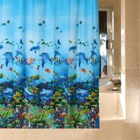 Wholesale Home Bathroom Waterproof Fabric Shower Curtain X180cm Blue Sea World Scence Curtains With Hooks Hot Sale