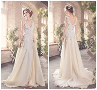 Wholesale Romantic Cheap Beach Lace Wedding Dresses V Neck Vintage Bridal Gowns Champagne Chiffon Long Sexy Backless Court Train Sleeveless
