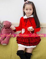 school clothes - children three piece suit girls kids outfit bowknot Coat Plaid Skirt Hat dress set school clothes colors kid clothing