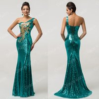 Wholesale Grace Karin New Mermaid Sequins One Shoulder Formal Evening Dresses Gold Applique Long Prom Party Gowns CL7545