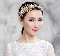 Wholesale In stock Gold olive branch wedding hair headpiece Pearl beads crowns tiaras hair accessories