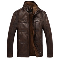 Wholesale Fall Qiu dong season more men s leather jackets and fleece business casual warm coat in middle aged plus size xl