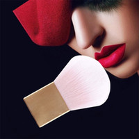 aluminium metal powder - 2015 Foundation Powder Gold Square Aluminium Metal Handle Kabuki Blush Brush Make Up Makeup Brushes Tools