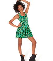 Wholesale 2016 Women s dresses Harajuku Hemp Green maple leaf Floral Galaxy Digital Print Pleated Skater Dress Tank Sleeveless Street Style
