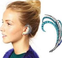Wholesale New Hotsale Blue Crystal Silver Gold Peacock Feather Charm Ear Stud Clip Earrings Cuff Jewelry Earrings For Women TG