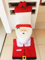 animal seat covers - 2015 Christmas Decorations Happy Santa Toilet Seat Cover and Rug Bathroom Set