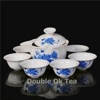 Gros-bleu fleur de pivoine Et Bone China Puer Gongfu Tea Set 1 Théière en céramique 6 Porcelaine Tea Cups 2015 New Design blanc Peinture