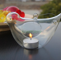 Wholesale Glass Hanging Flying Bird Candle Holders Candlestick Home Outdoor Camping Wedding Dinner Decoration