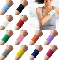 Wholesale 2015 New and hot Unisex Cotton Sweat Band Sweatband Wristband Arm Band Basketball Tennis Gym Yoga Wrist Support