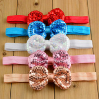 baby bow ornaments - Fashion Princess Flash sequined bow headbands cute baby elastic Headbands Children Hair Accessories Kids Hair Ornaments Princess headdress