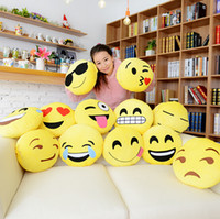 cushion - 13 Styles Cushion Cute Lovely Emoji Smiley Pillows Cartoon Facial QQ Expression Cushion Pillows Yellow Round Pillow Stuffed Plush Toy FA226