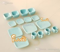 Wholesale Doll house dollhouse mini model toy light blue japanese style ceramic tea set