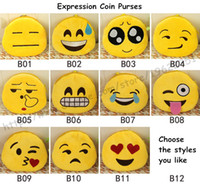 american expression - Coin Purses Cute Lovely Emoji Smiley purse Cartoon Facial QQ Expression Cushion Pillows Yellow Round Stuffed wallet