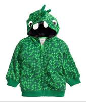 children cotton hoodies - 2015 Cartoo Dinosaur Kids Hoodies Jacket Korean looped pile cotton zipper baby boys girls hoody coat Children clothing outwear TR81