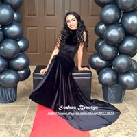africa t shirt - Sexy Back Black Velvet Mermaid Evening Dresses High Neck Sleeveless Cutaway Sides Long Party Prom Dress Gowns For South Africa Arabic Women
