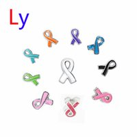 Wholesale BREAST CANCER AWARENESS RIBBON Floating charms mixed color sell for memory locket MFC2002