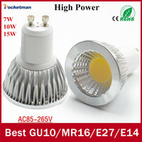 Wholesale LED Spotlight GU10 COB Dimmable led bulb W W W Warm White white V Ultra Bright GU Bulbs order lt no track