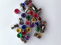Wholesale High quality brass material half hex shape car wheel tire valve cap with colorful Diamond air dust cap