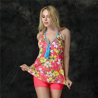 Wholesale Fashion boxers swimsuit floral tankinis set bathing suit for women girl swimwear beachwear plus size XL XL TY6258