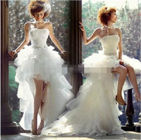 Wholesale 2015 Beach High Low Wedding Dresses Sweetheart Handmade Lace Beaded Organza Ruffles Formal Party Grown