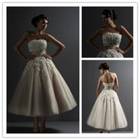 Wholesale 2015 Amazing Strapless Princess Ball Gown Wedding Dress With Lace Applique Tea Length Tulle Bridal Gowns