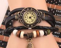 Wholesale 10pcs epack Women girl students Genuine Leather Vintage fashion Watch Leaf Pendant bracelet Wristwatches