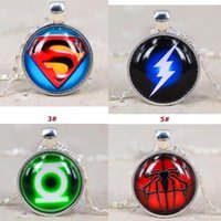 batman plates - superhero time gem necklace avengers batman superhero spiderman Captain America pendants men women kids sliver chain party necklace collar